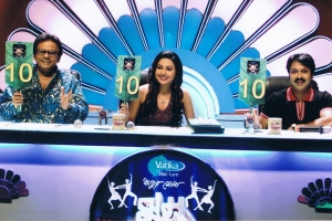 With Pravat Roy and Indrani Dutta, judges on ETV talent show, Rhitur Mela, Calcutta