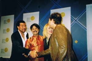 With Lionel Richie, Sharon Stone and Egyptian singer Hakim at press conference for Nobel Peace Prize Concert, 2006