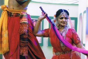 As Krishna and Radha in Holi Festival dance